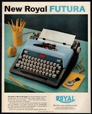 1959 ROYAL Blue Retro Futura Portable Typewriter - Desk - Pencil VINTAGE AD
