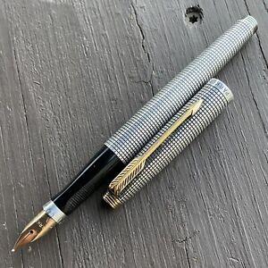 Parker 75 Sterling Silver Cisele Fountain Pen, USA, 14k Medium Nib, Nice!
