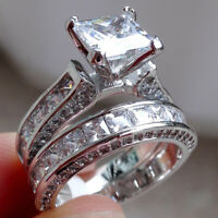 Princess White Cz 925 Sterling Silver Wedding Band Engagement Ring Set Size 5-10