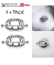 1x Pair Steel Silver Vampire Teeth Nipple Shield Bar Ring Body Piercing Jewelry