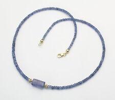 Saphir-Kette blau facettiert mit Tansanit-Kristall 44,5 cm lang
