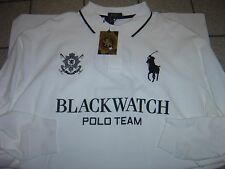"BIG MENS RALPH LAUREN ""BLACK WATCH POLO TEAM"" WHITE L/S POLO SHIRT SIZE 2X $145"