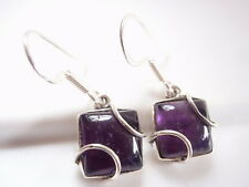 Amethyst Caged Squares 925 Sterling Silver Dangle Earrings Corona Sun Jewelry