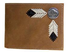 Nocona Mens Western Wallet Bi-Fold Pass Case Buffalo Nickel Leather