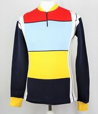 70s Acrylic CYCLING JERSEY Red/Blue/Yellow