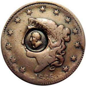 1836 General Lafayette Counterstamp On Large Cent Ex Bowers & Ford
