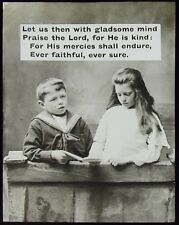 Glass Magic Lantern Slide CHILDREN READING WITH RELIGIOUS TEXT NO2 C1900 PHOTO