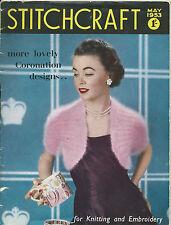 STITCHCRAFT MAGAZINE MAY 1953 - ORIGINAL SEWING KNITTING PATTERNS CORONATION ED.