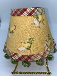 COUNTRY STYLE ROOSTERS TERRACOTTA RED GOLD  CLIP ON LAMP SHADE