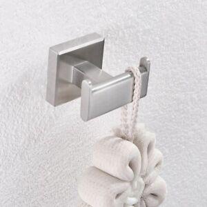 304 Stainless Steel Brushed Nickel Coat Racks Towel Square Dual Base Robe Hooks