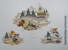 Plauener spitze Fensterbild Sternenschweif Dekoration Sterne Weihnachten 3-tlg