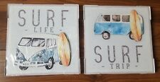 NEW SET 2 WHITE BLUE SURF LIFE TRIP 3D CAMPERVAN CANVAS WALL ART PICTURE CAMPER