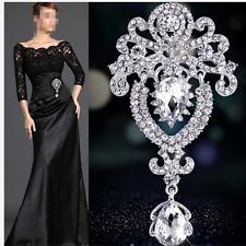 Silver Large Flower Crystal Bridal Brooch Rhinestone Diamante Wedding Broach Pin