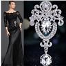 Silver Crystal Large Flower Bridal Brooch Rhinestone Diamante Wedding Broach Pin