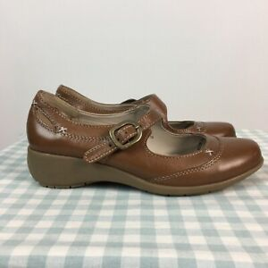 Footglove M&S Tan Leather Comfort Mary Jane Shoes UK 3.5 Driving Cushioned