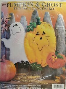 Halloween Pumpkin & Ghost Felt Wall Hanging Embroidery Kit 5125 Design Works
