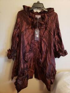 Pretty Angel Silk Rayon Bronze Ruffle Coat Size S
