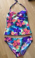 bd4dd28d89 George Navy Floral Print Tankini Bikini 10 Top & 12 Boy Short Bottoms Red