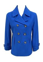 Lands' End Peacoat Blue Double Breasted Wool Blend Jacket Coat Petite Size 2P