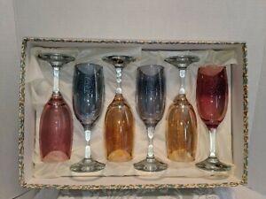 Vintage Cristalleria Fratelli Fumo Wine Glasses, 3 Colors,  Italy. Set Of 6