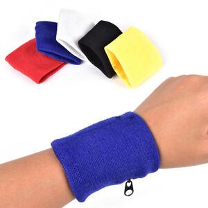 1x Wrist Sweatband Athletic Sports Wristband Armband Wallet Zipper Pocket BDAU