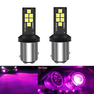 A1 AUTO 2x BAY15d 1157 LED Bulbs Pink Purple Bright SMD 3030 Turn Signal Light