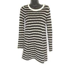 BDG S dress sweater tunic black stripe zip back cotton mini ls Urban Outfitters