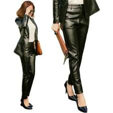 Womens Pencil Pants Real Leather Slim High Waist Windproof Trousers Office 3XL L