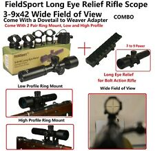 Mosin Nagant 3-9x42 Long Eye Relief Scope With 2 Pair Ring Mount 1 Dov to Weaver