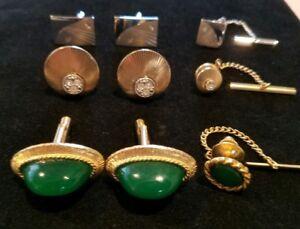9pc. 3 Sets Cuff Links Tie Clip Swank & jade Green