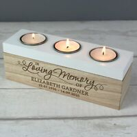 Personalised Sentiments Wooden Triple Tea Light Candle Holder, Memorial Ornament