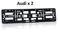 2 x AUDI BLACK EFFECT NUMBER PLATE HOLDER SURROUND CAR