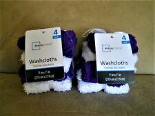 "2 NEW MAINSTAYS 4 Pk 100% Cotton PURPLE WHITE WASHCLOTHS Set Towel 11x11"" Decor"