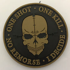One Shot One Kill Skull Sniper USA Military Army Tactical Morale Subdued Patch