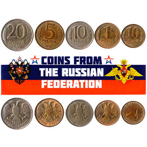 5 RUSSIAN FEDERATION COINS DIFFERENT EUROPEAN COINS FOREIGN CURRENCY, MONEY