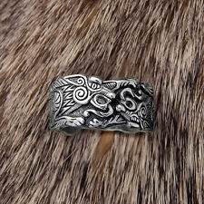 Valknut dragon odin' s Symbol of Norse Viking Warriors silver ring Punk Gothic