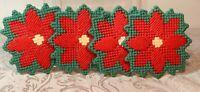 Set Of 4 Vintage CHRISTMAS Snowflake coasters 4 inch needlepoint
