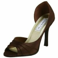 Touch Ups Flash Womens Size 5.5 Brown Peep Toe Satin Pump Bridal Prom Shoes