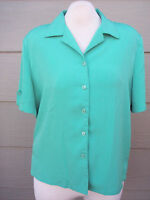 Allison Daley Womens Camp Shirt Petites Sz 16 16P Green Crinkle Polyester Top