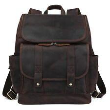 "18"" Mens Buffalo Leather Laptop Case Messenger Shoulder Bags"