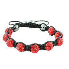 Red CZ Black Cord Macrame Beaded Bracelet