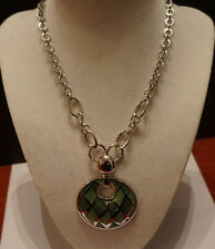 "Lia Sophia Obsidian Silver Link With Aqua-Green Pendant Necklace 16 -19"" NWT"