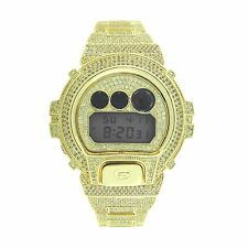 CASIO GSHOCK DW6900 Full Iced Out 14k Gold Plated Canary Lab Diamonds Hip Hop