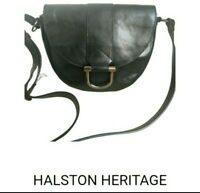 Halston Heritage Black Saddle Messenger Crossbody Bag Genuine Leather Like New
