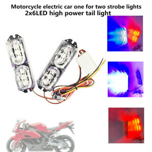 Pair Motorcycle Scooter Red&Blue Fashing Light LED Decorative Brake Light Lamps