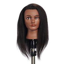 100% Human Hair Mannequin Head Hairdresser Manikin Training Cosmetology Doll