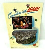1950s Come Along with Miami Traveler's Guide Poster Foldout Florida Color Litho