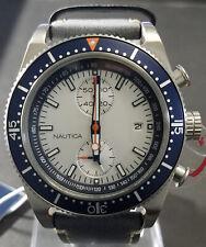 Nautica Silver Dial Leather Band Quartz Men's A14591G - Retail $195 (59% off)