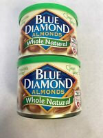 2 Pk Blue Diamond Whole Natural Almonds 6 Oz Each Can