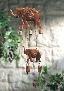 Wind Chime Elephant Bell Hanging Bronzed Metal Fair Trade Home Indoor Garden New